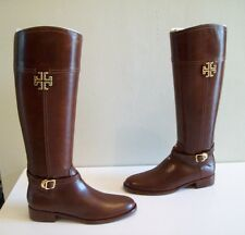 Tory Burch Eloise Riding Boots Almond Leather Size 10 New In Box Authentic