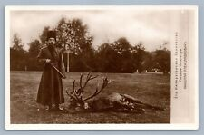 RUSSIAN TSAR NICHOLAS II IN COSSACK UNIFORM w/ KINDJAL HUNTING ANTIQUE POSTCARD