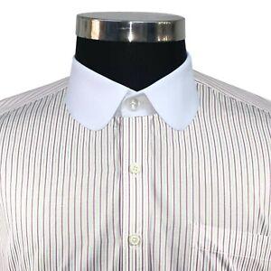 Peaky Blinders Mens Penny collar Pink stripes shirt Round Club collar Vintage