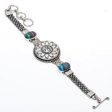 "Sun Face Rainbow Calsilica Handmade Ethnic Style Jewelry Bracelet 7-8"" B-276"