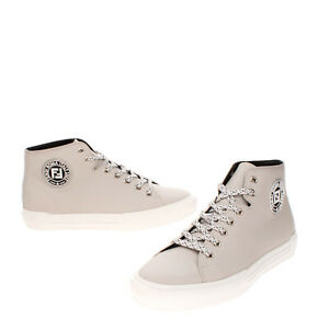 RRP €675 FENDI ROMA Leather Sneakers EU 43 UK 10 US 11 Logo Patch Made in Italy
