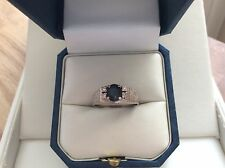 18ct White Gold ring set with Sapphire & Diamonds size N