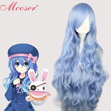 wigs DATE A LIVE Yoshino, bleu clair et long ondulé partie perruques cheveux