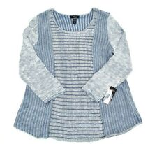 Style & Co Womens Plus Size Pullover Striped Sweater Size 3X Blue Scoop Neck NWT