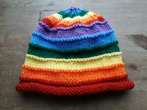 Babies Hand Knitted Rainbow Hat