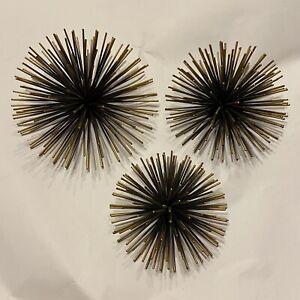 MCM Starburst Wall Mid Century Modern Sea Urchin  Set Of Three 3 Pieces