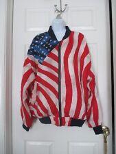 NWT Volare American Flag Silk Bomber Jacket Size L  MAGA  Stars & Stripes