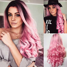 US Ombre Wine Red Pink Gray Flaxen Wig Long Hair Curly Cosplay Wig Wavy Colorful