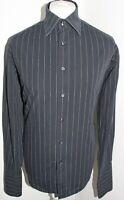 BEN SHERMAN Mens Black Striped Long Sleeved Shirt Size XL (4) Double Cuffed