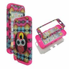 For Apple ipod Touch 5 Hybrid PinkStrip Design Owl  Hard Soft Cover Case