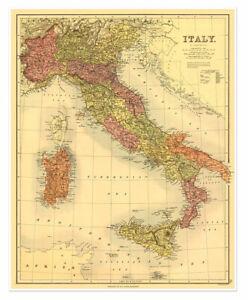 Map of Italy, Sardinia & Sicily by Bartholomew circa 1890 Vintage Reprint 24x30