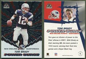2002 Pacific Adrenaline - Power Surge - #6 - Tom Brady - New England Patriots