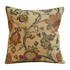 "Traditional Floral Tapestry Cushion. Double Sided. 17x17"". Beige Natural Colours"