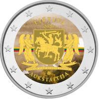 2 Euro Gedenkmünze Litauen 2020 coloriert  mit Farbe / Farbmünze Aukstaitija 2