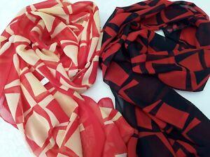 BNWT Red/Black or Red/Yellow Squares Design Chiffon Scarf  L 160 x W 51 cm