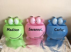 KIDS PERSONALISED TOOTHBRUSH HOLDER - Pink, Blue & Green