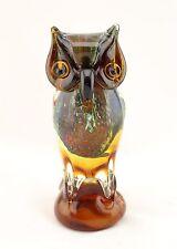 """New 8"""" Large Hand Blown Art Glass Bird Owl Figurine Sculpture Statue Amber"""