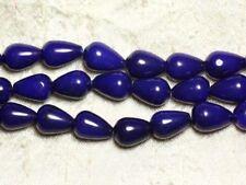 1 Fil 39cm Perles de Pierre - Jade Gouttes 14x10mm Bleu nuit