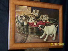 """Antique c1895 Original Oil On Canvas """"Kittens & Puppies"""" Painting"""