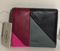 FOSSIL Emma Mini Multi Leather Wallet RFID Pink Green Red Navy NWT