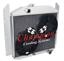 "3 Row Perf Champion Radiator W/ 2 10"" Fans for 1949 50 51 1952 Studebaker Pickup"