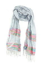LADIES GREY/ COLORFUL WEAVED SUMMER SCARF UNIQUE STATEMENT (MS6)