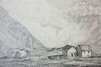 Sommerliche Alm im Hochgebirge mit Nebel, Bleistiftzeichnung, Bayern, um 1900