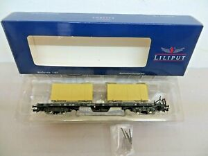 Liliput L235753 H0 Flat Wagon SSIm25 2180382 0 886-2 D. DB With Charge New Boxed