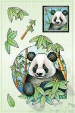 Marij Rahder Panda Bear with Eucalyptus Tree Plant Set Cling Rubber Stamp