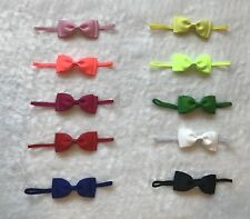 10 Pcs Baby Toddler Girl ribbon Double Layer Bow Skinny Elastic Headband