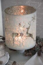 Windlicht Bauernsilber Kerzenleuchter Rentier Weihnachten Christmas Shabby Chic