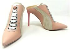 Puma X Fenty by Rihanna Pink Lace-Up Leather Mule Sneaker Heel Shoes Size US 9.5