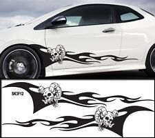 """Universal Car Skull Flames Pinstripe Racing Side Graphics Decals 54""""X12""""  SK3f2"""