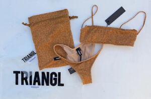 Triangl New With Tags Mica Leopard Sparkle Bathers Brazil Bikini Size XS