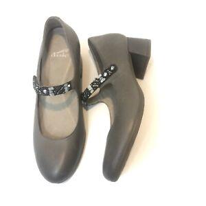 Dansko Pearlina Mary Jane Leather Stone Gray Shoe Comfort Women US 7.5 / 8 EU 38
