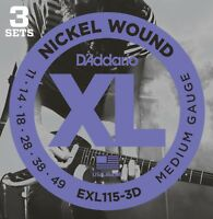 3 Sets D'Addario EXL115-3D Electric Guitar Strings 11-49 Medium EXL115