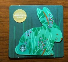 STARBUCKS Gift Card 2018 Die Cut Bunny Rabbit Green Happy Easter Egg No $ Value