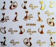 Gold Cats Love You 3D Nail Art Sticker Decal Decoration Manicure
