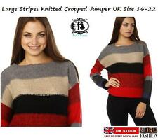 Crew Neck Checked Plus Size Jumpers & Cardigans for Women