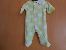 Baby Girls Fleece Sleepsuit,  Lime Green with white Spots, BNWT, Lovely Item!