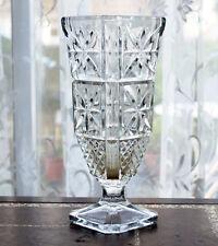 """VINTAGE ITALIAN LEAD CRYSTAL CUT GLASS VASE 9.25"""""""