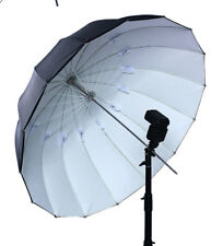 Rubberized White w/ Black Back Umbrella w/16 Panels, Fiberglass Ribs... 63 Inch