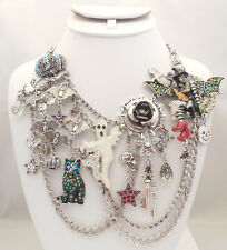 NEW KIRKS FOLLY WITCHCRAFT FAIRY HALLOWEEN PARTY NECKLACE SILVERTONE