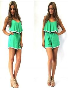 MADISON SQUARE Green Crochet Frill Detail Forever Playsuit New SIZE S RRP $69.99