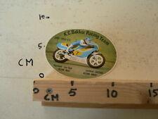STICKER,DECAL K.C. BAKKER RACING TEAM 250-350 CC NO 7 ROADRACE WEGRACE MOTO