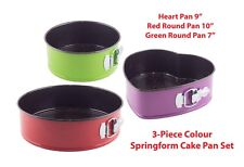 3 pcs Set Color Non-Stick Springform Cake Pan Bakeware Tins Round & Heart Shape