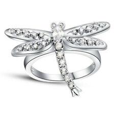 NEW Dragonfly Women White Gemstone Crystal Silver Wedding Ring Jewelry Size 9