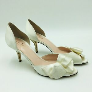 kate spade new york Sela Glitter Heeld D'orsay Pump Size 9.5 Ivory, MSRP $298