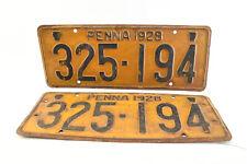 1928 Pennsylvania Metal License Plates Original Matched Pair #325194 (V4486)