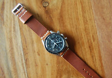 Horween English Tan Dublin Leather Watch Strap Band 20mm for Omega Speedmaster